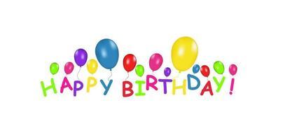 banner em branco com balões coloridos isolados no fundo branco. fundo festivo do vetor. conceito de feliz aniversário