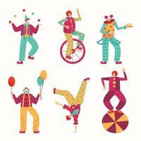 artistas de circo em apresentações diferentes vetor