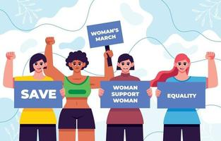 movimento de meninas pela igualdade de gênero vetor