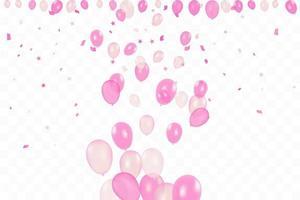 aniversário da menina. fundo de feliz aniversário com balões rosa e confetes. festa de evento de celebração. multicolorido. vetor