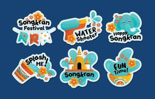 adesivos coloridos da festa de songkran em estilo simples vetor