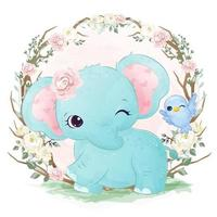 elefante bebê adorável em ilustração aquarela vetor