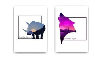 belas paisagens em forma de silhuetas de rinoceronte e lobo. design moderno da capa do bloco de notas vetor