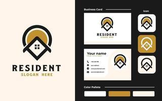 casa do telhado com logotipo imobiliário de ícone de ponto e modelo de cartão. conjunto de marca vetor