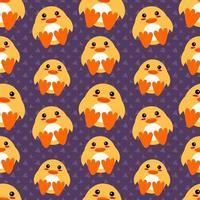 ilustração de padrão sem emenda de animal pato fofo