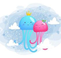 ilustração de casal de medusas fofas e doces