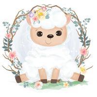 ilustração de ovelha ou cordeiro fofo em aquarela vetor