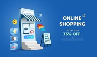 loja de compras online no design do site e do telefone móvel. conceito de marketing de negócios inteligentes. visão horizontal. ilustração vetorial vetor