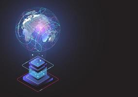conexão de rede global. ponto de mapa mundial e conceito de composição de linha de negócios globais. ilustração vetorial vetor