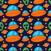 alienígena com nave espacial sem costura padrão ilustração fundo vetor