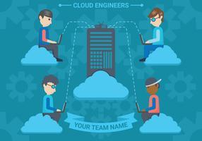 Ilustração em vetor nuvem engenheiros