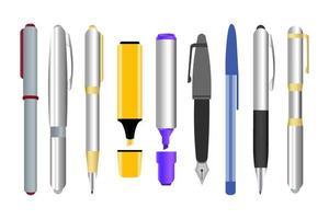 conjunto de canetas em fundo branco vetor