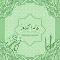 Ramadan Kareem com mesquita desenhada à mão e fundo de ilustração de ornamento islâmico vetor