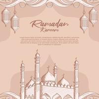 Ramadan Kareem com mesquita islâmica desenhada à mão e fundo de ilustração de lanterna vetor