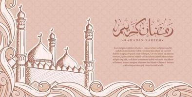 caligrafia árabe ramadan kareem com fundo de ilustração islâmica desenhada à mão vetor
