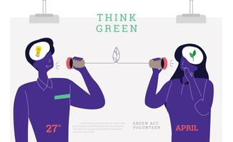 Pense verde Poster Vector liso pessoas Go Green