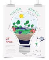 Pense verde cartaz Vector plana lâmpada idéias ir verde