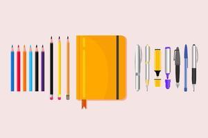 caderno plano com lápis e canetas coloridas vetor