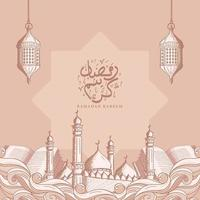 Ramadan Kareem com fundo de ilustração de ornamento islâmico desenhado à mão vetor