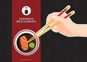 sushi, comida japonesa, pôster de restaurante de sushi, ilustração vetorial vetor