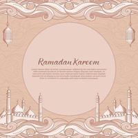 Ramadan Kareem com mesquita islâmica desenhada à mão e ilustração de lanterna vetor
