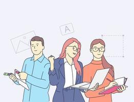 pessoas felizes trabalhando no conceito de escritório de agência de design criativo. colaboração dos criadores. vetor