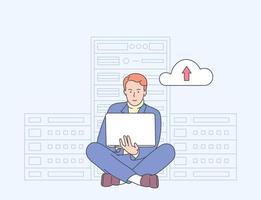 segurança online, proteção de dados, software antivírus, conceito de hospedagem em nuvem. jovem administrador de TI trabalhando na sala do servidor para diagnóstico de hardware.