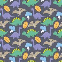 vetor de design padrão de dinossauros bonitos. padrão de dinossauros filhos bonitos para meninas e meninos, animais dos desenhos animados coloridos no fundo abstrato sem costura criativo, pano de fundo artístico para têxteis e tecidos.