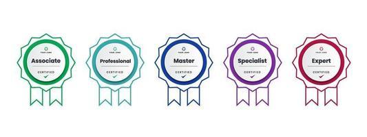 design de logotipo de crachá certificado para certificados de crachá de treinamento da empresa para determinar com base em critérios. conjunto pacote certifica colorido com ilustração vetorial de fita.
