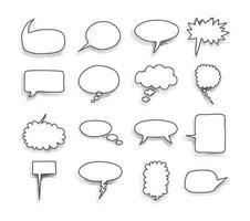 uma coleção de balões de fala em quadrinhos. ilustração vetorial. vetor