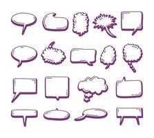conjunto de elemento de bolha do discurso doodle na moda. Doodle balões de fala. elementos desenhados à mão para citações e texto vetor