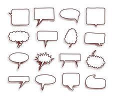 coleção de balões de fala em quadrinhos vazios com sombras de meio-tom. mão desenhada adesivos retro dos desenhos animados. estilo pop art. ilustração vetorial. vetor