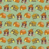 crianças sem costura padrão com elemento de doodle de local de adoração. bonito padrão sem emenda de vetor com doodle casas tradicionais. fundo do vetor de fachadas multicoloridas de edifícios antigos em estilo moderno escandinavo.