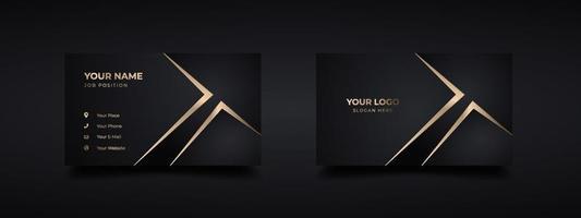maquete de logotipo de cartão de visita escuro de luxo com efeito moderno de ouro em relevo e em relevo. modelo de design dourado de cartões elegantes de vetor. vetor