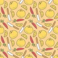 padrão sem emenda com facas e elemento de doodle de crianças de comida vetor