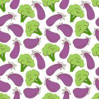 padrão vegetal com berinjela de composição, elemento de brócolis. perfeito para fundo de alimentos, papel de parede, têxteis. ilustração vetorial