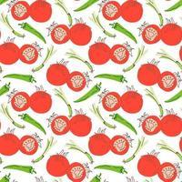 padrão vegetal com composição de pimentões, capim-limão, elemento tomate. perfeito para fundo de alimentos, papel de parede, têxteis. ilustração vetorial vetor