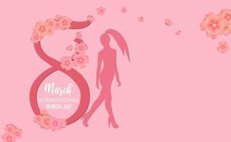 cartão postal do dia internacional da mulher com flores de papel cortadas por volta das 8 e uma garota confiante vetor
