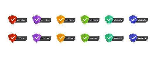 certificado, texto verificado com ilustração vetorial de ícone. logotipo escudo distintivo espaço editável texto em design colorido. vetor