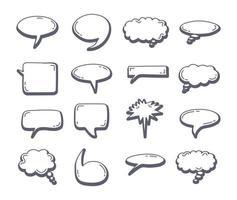 elemento de bolha de bate-papo conjunto desenho de doodle. balão de fala esboço desenhado à mão vetor