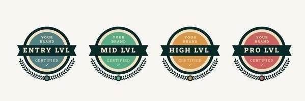 modelo de crachá de logotipo certificado digital. emblema de certificação com design de conceito vintage. ilustração vetorial.