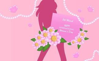 fundo do dia internacional da mulher com flores de corte de papel, pérolas e garota confiante vetor