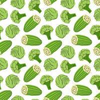 padrão vegetal com pepino, brócolis, ilustração vetorial de elemento de repolho vetor