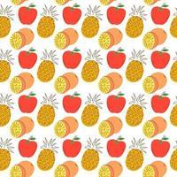 mão desenhada ilustração vetorial - padrão sem emenda com doodle colorido frutas e bagas. fundo decorativo original para o seu design, têxtil, embalagem vetor