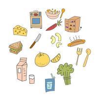conjunto de elemento doodle equipamento de cozinha colorido. cozinhar doodles elemento de design vetor