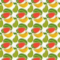 de fundo com elementos de fruta, melancia, banana, manga. padrão sem emenda com frutas orgânicas frescas. o padrão pode ser repetido ou lado a lado sem costuras visíveis