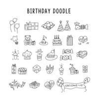 elementos de aniversário. desenhado à mão conjunto com bolos de aniversário, balões, presentes e atributos festivos. vetor