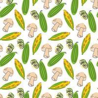 vegetais de padrão sem emenda com elementos de cogumelos, pepino, milho. ilustração vetorial vetor
