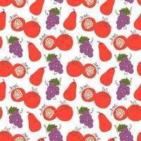 padrão sem emenda com tomates, uvas, goiaba em um fundo branco. ilustração em vetor de ingredientes para fundo de alimentos em um estilo doodle plana.