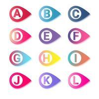 marcadores coloridos com letras. coleção de pontos de bala de cartas. vetor